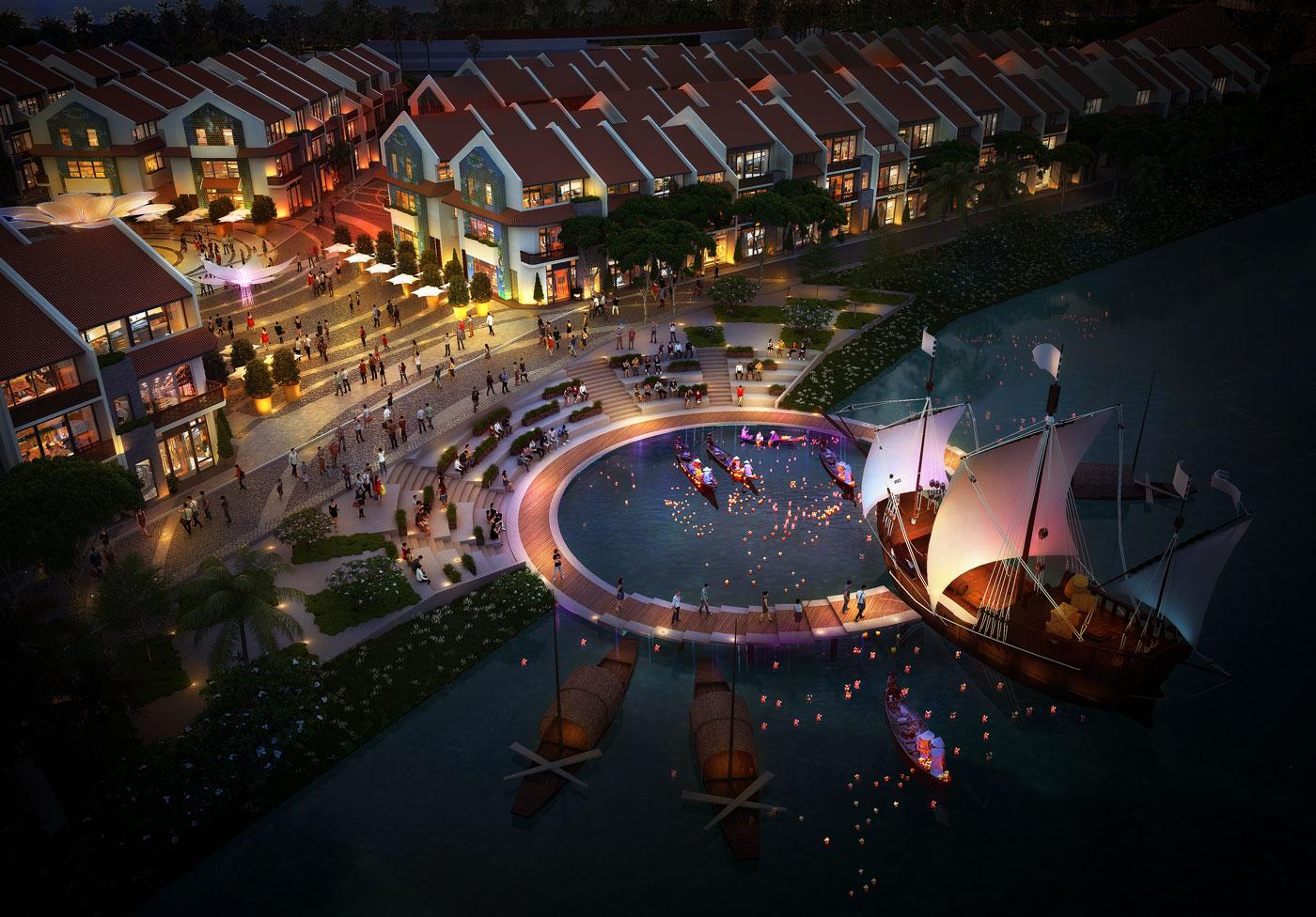 Phối cảnh khu thương cảng thực cảnh Hoian d'Or Marina tái hiện dáng vẻ phố cổ xưa